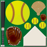 Reminisce - Real Sports Collection - 12 x 12 Die Cut Cardstock Stickers - Softball