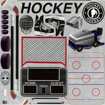 Reminisce - Real Sports Collection - 12 x 12 Cardstock Stickers - Hockey