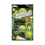 Reminisce - Real Sports Collection - 3 Dimensional Die Cut Stickers - Softball