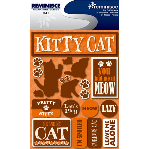 Reminisce - Signature Series Collection - 3 Dimensional Die Cut Stickers - Cat