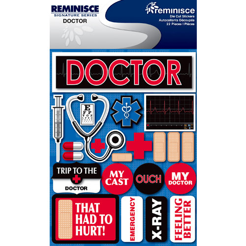 Reminisce - Signature Series Collection - 3 Dimensional Die Cut Stickers - Doctor