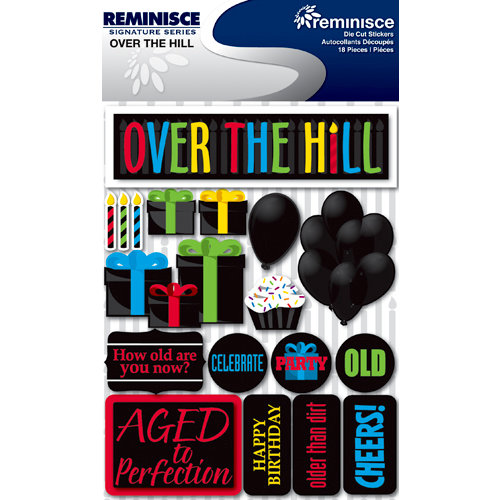 Reminisce - Signature Series Collection - 3 Dimensional Die Cut Stickers - Over the Hill