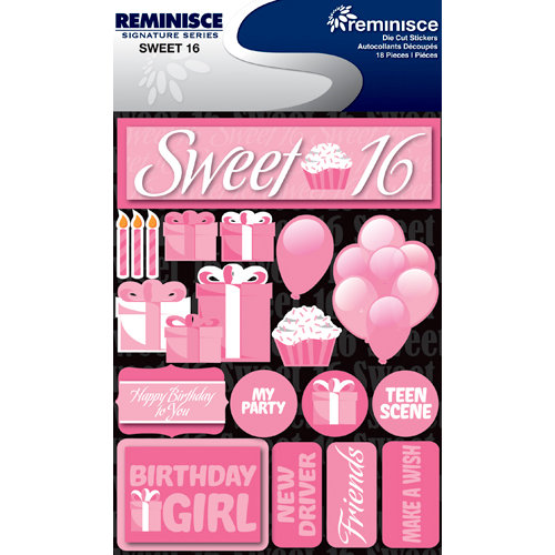 Reminisce - Signature Series Collection - 3 Dimensional Die Cut Stickers - Sweet 16