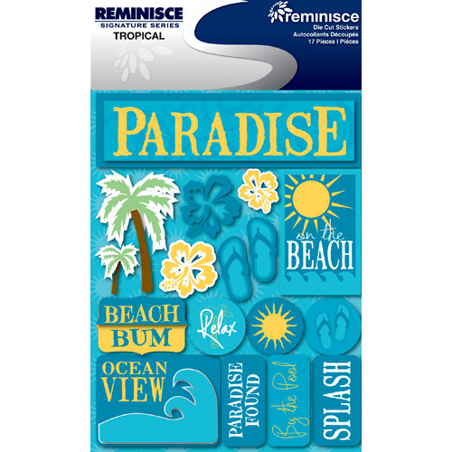 Reminisce - Signature Series Collection - 3 Dimensional Die Cut Stickers - Tropical