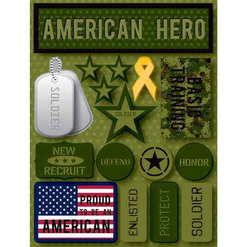 Reminisce - Signature Series Collection - 3 Dimensional Die Cut Stickers - American Hero