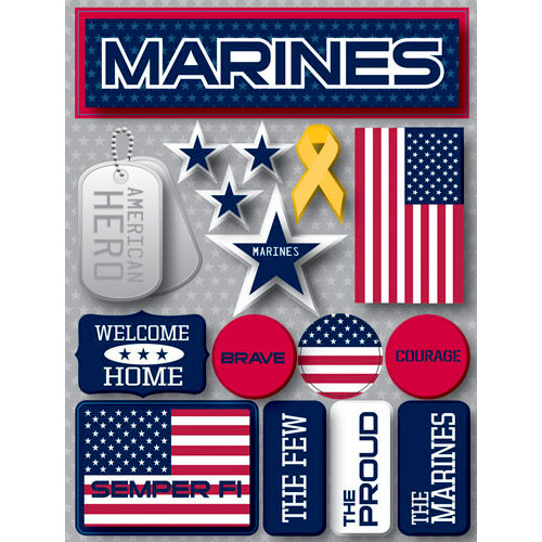 Reminisce - Signature Series Collection - 3 Dimensional Die Cut Stickers - Marines