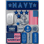 Reminisce - Signature Series Collection - 3 Dimensional Die Cut Stickers - Navy