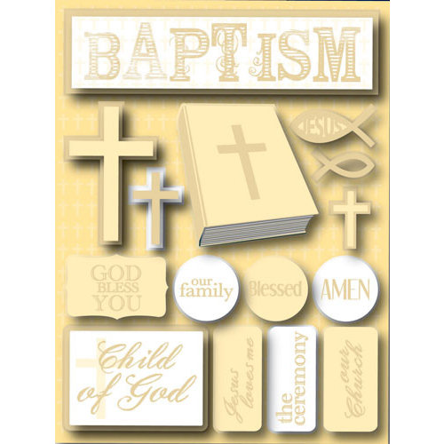 Reminisce - Signature Series Collection - 3 Dimensional Die Cut Stickers - Baptism