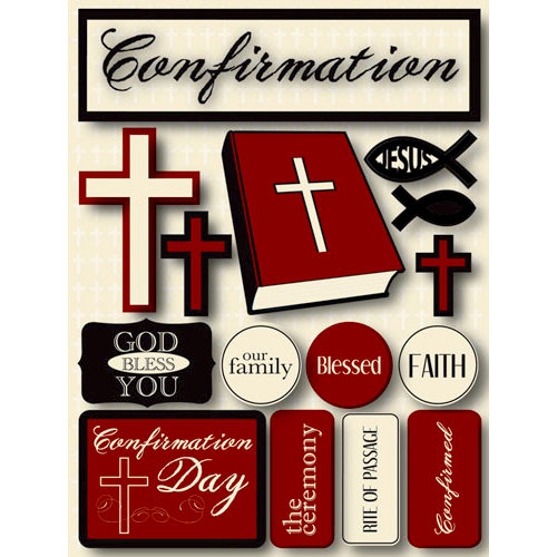 Reminisce - Signature Series Collection - 3 Dimensional Die Cut Stickers - Confirmation