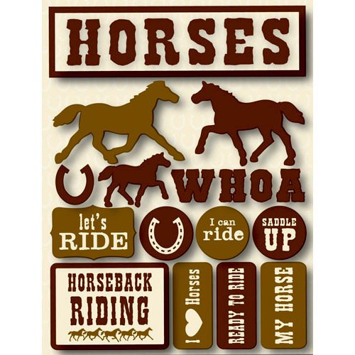 Reminisce - Signature Series Collection - 3 Dimensional Die Cut Stickers - Horses