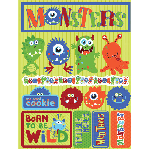 Reminisce - Signature Series Collection - 3 Dimensional Die Cut Stickers - Monsters