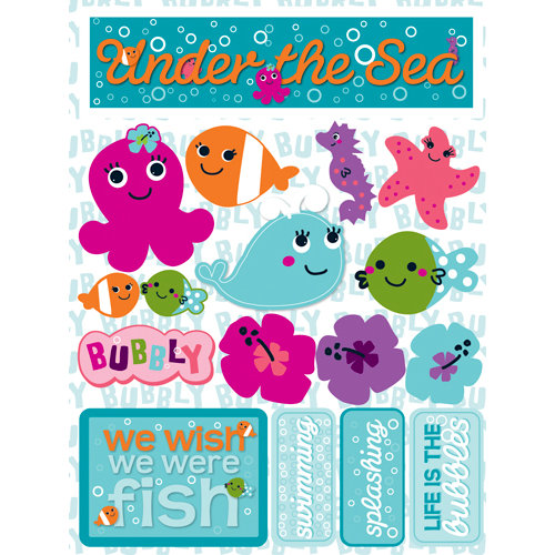Reminisce - Signature Series Collection - 3 Dimensional Die Cut Stickers - Under the Sea