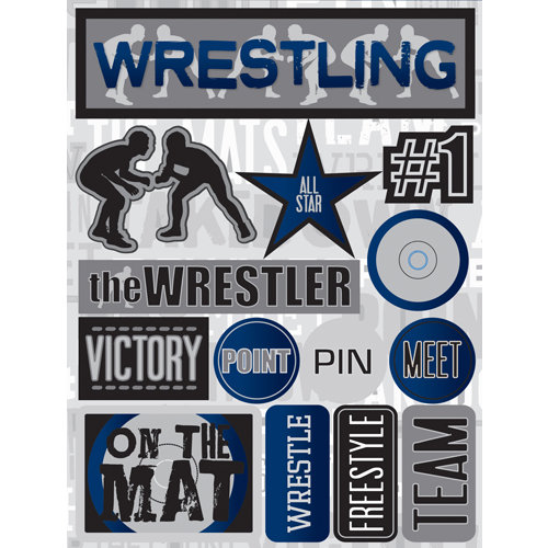 Reminisce - Signature Series Collection - 3 Dimensional Die Cut Stickers - Wrestling