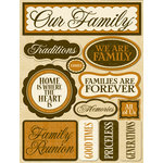 Reminisce - Signature Series Collection - 3 Dimensional Die Cut Stickers - Our Family
