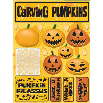 Reminisce - Signature Series Collection - 3 Dimensional Die Cut Stickers - Carving Pumpkins
