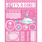 Reminisce - Signature Series Collection - 3 Dimensional Die Cut Stickers - It's A Girl