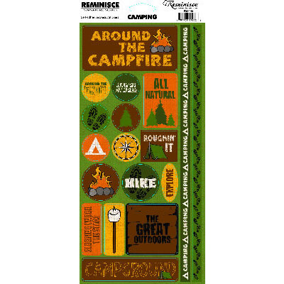 Reminisce - Camping Collection - Cardstock Stickers - Camping Phrase
