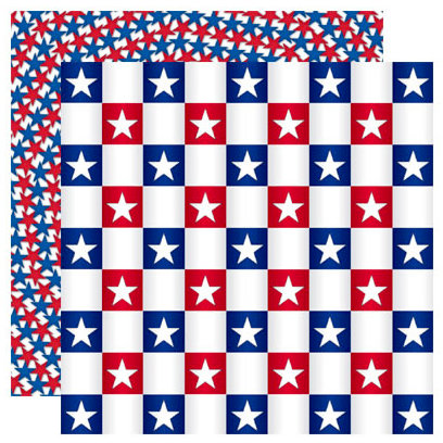 Reminisce - Stars and Stripes Collection - 12 x 12 Double Sided Paper - Star Checkerboard