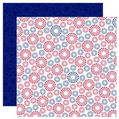 Reminisce - Stars and Stripes Collection - 12 x 12 Double Sided Paper - Bursting Stars