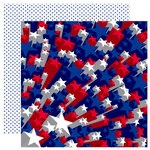 Reminisce - Stars and Stripes Collection - 12 x 12 Double Sided Paper - Star Burst