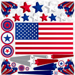 Reminisce - Stars and Stripes Collection - 12 x 12 Cardstock Stickers - Stars and Stripes Icon