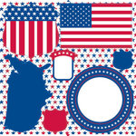 Reminisce - The Freedom Collection - 12 x 12 Cardstock Stickers - All American Icons