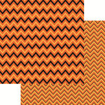 Reminisce - Halloween Collection - 12 x 12 Double Sided Paper - Halloween Chevron