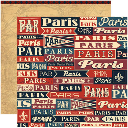 Reminisce - Travelogue Collection - 12 x 12 Double Sided Paper - Paris