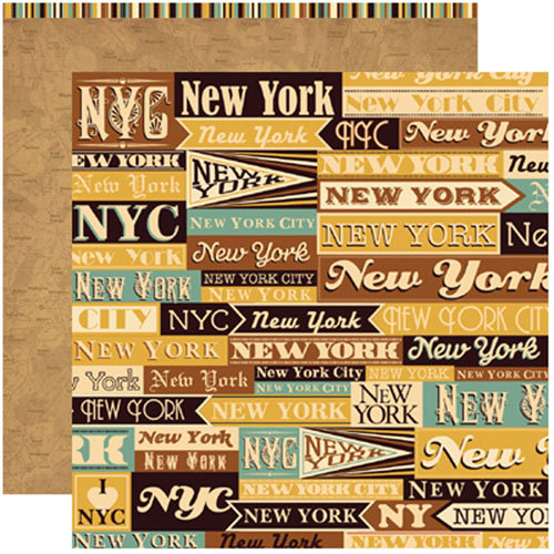 Reminisce - Travelogue Collection - 12 x 12 Double Sided Paper - New York