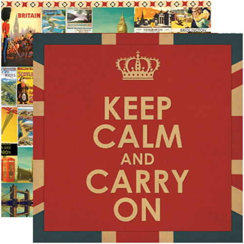 Reminisce - Travelogue Collection - 12 x 12 Double Sided Paper - Keep Calm