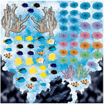 Reminisce - Under The Sea Collection - Seaworld - 12 x 12 Die Cut Holographic Stickers - Coral Reef - Icons