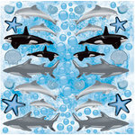 Reminisce - Under The Sea Collection - Seaworld - 12 x 12 Die Cut Glitter Stickers - Dolphin Whale and Shark - Icons
