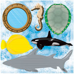Reminisce - Under The Sea Collection - Seaworld - 12 x 12 Die Cut Cardstock Stickers - Journal