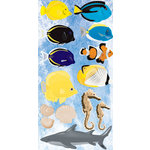 Reminisce - Under The Sea Collection - Seaworld - Chipboard Glitter Stickers - Saltwater Fish