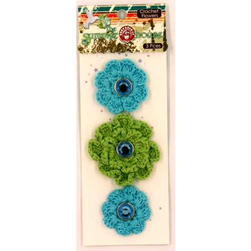 Ruby Rock It Designs - The Summerhouse Collection - Crochet Flowers with Gem Centers, CLEARANCE