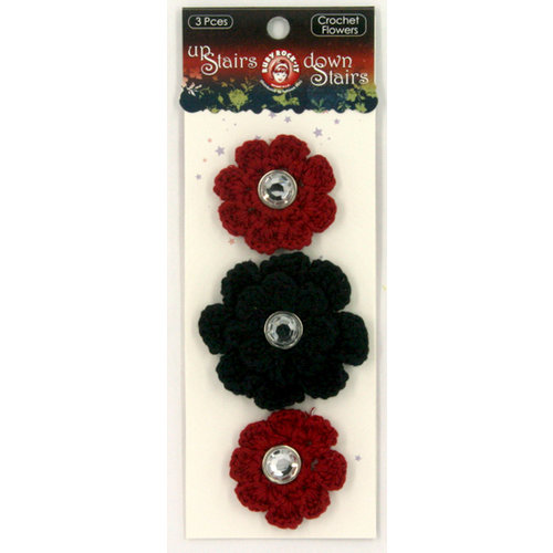 Ruby Rock It Designs - Upstairs Downstairs Collection - Crochet Flowers with Gem Centers