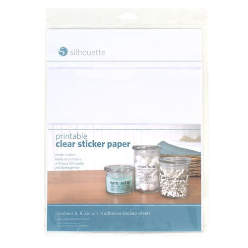 Silhouette America - 8.5 x 11 Printable Sticker Paper - Clear