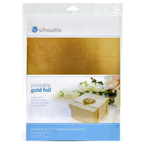 Silhouette America - 8.5 x 11 Self Adhesive Printable Foil Paper Pack - Gold