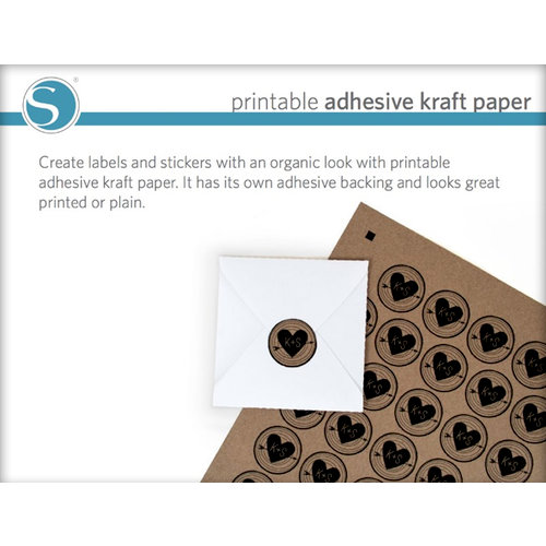 Silhouette America - 8.5 x 11 Self Adhesive Printable Sticker Paper - Kraft