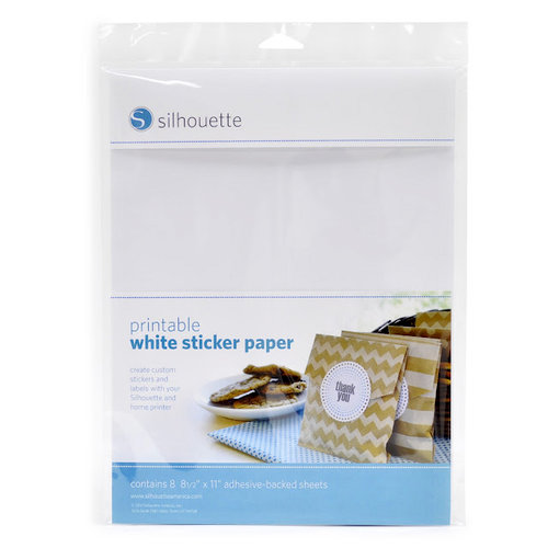 Silhouette America - 8.5 x 11 Self Adhesive Printable Sticker Paper Pack - White