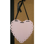 Scrapbook.com - Hanging Magnet Board - Pink Heart With Black Ribbon, CLEARANCE