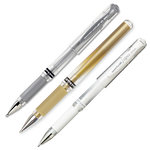 Signo - Uni-ball Impact Pens - 3 Pack - White, Gold, Silver