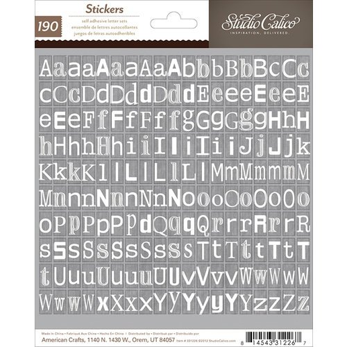 American Crafts - Studio Calico - Darling Dear Collection - Cardstock Stickers - Tiny Alphabet - Kraft White