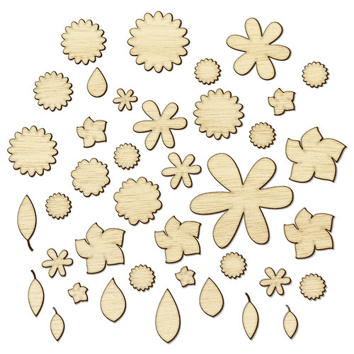 Studio Calico - Sundrifter Collection - Wood Veneer Pieces - Flowers and Leaves