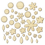 American Crafts - Studio Calico - Sundrifter Collection - Wood Veneer Pieces - Flowers and Leaves