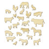 Studio Calico - Here and There Collection - Wood Veneer Pieces - Farm Animals