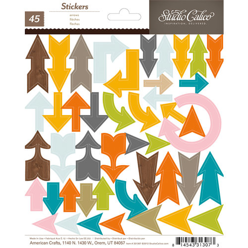 American Crafts - Studio Calico - Here and There Collection - Chipboard Stickers - Arrows