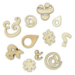 American Crafts - Studio Calico - Snippets Collection - Wood Veneer Pieces - Punctuation