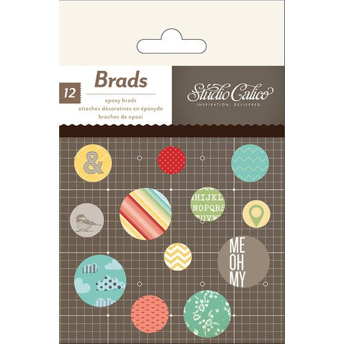 American Crafts - Studio Calico - Snippets Collection - Epoxy Brads