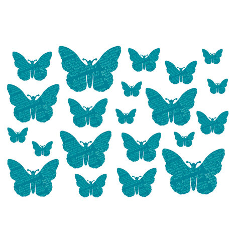 Studio Calico - Memoir Collection - Rub Ons - Butterflies - Teal